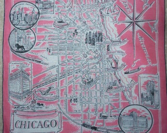 Vintage Downtown Chicago Handkerchief