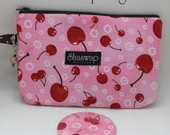Shuswap Bags Rockabilly Cherries Wristlet and Mirror Set