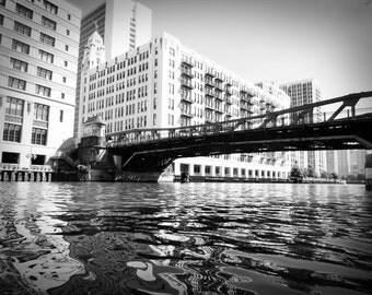 Chicago River Bridge Black and White Photo Architecture Home Decor Gift Architecture City