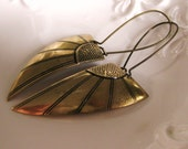 Art Deco Angel Wing Earrings Antique Gold Brass