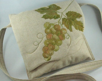 Quilted Cross Body Purse, Grapes and Leaves