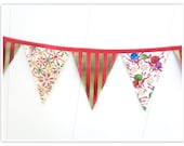 Christmas Banner, Holiday Banner, Christmas Bunting, Green and Red Fabric Bunting, Stripes, Fabric Banner, Home Holiday Decor, Pennant Flags