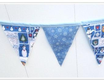 Snowflake Banner, Snowman Banner, Snowflake Bunting, Fabric Banner, Birthday Decor, Holiday Decor, Fabric Bunting