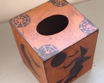 Paper Mache Primitive Folk Art  Halloween  Tissue Box