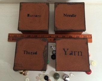 Paper Mache Vintage Button Box Set
