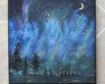 Magical Night Sky Painting Northern Lights Aurora