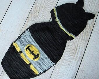 Baby Batman- Photography Prop- Hat and Cape-Newborn Baby Superhero Hat Cape Photo Prop crochet hat cape baby boy costume