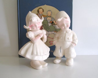 Vintage Kreiss 1956 Figurines, Dutch Boy and Girl, White Ceramic