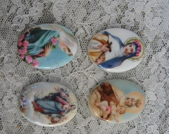 Beautiful Set of 4 Religious Cabochons 40X30 Blessed Mother and Child Jesus Assumption to Heaven St Therese Beautiful Madonna Cameos