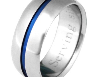 Thin Blue Line Titanium Wedding Band - b22
