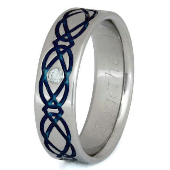 Irish Celtic Titanium Wedding Band  - Blue Infinity Symbol with White Diamond - ck45