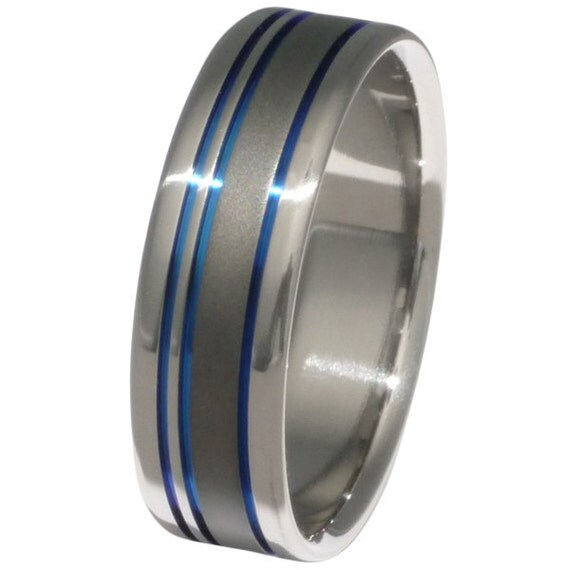 Titanium Wedding Band  - Blue Ring - Custom Jewelry - sa10
