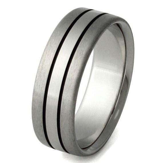 Titanium Wedding Band  - Black Titanium Ring - bk30