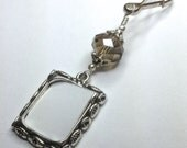 Wedding bouquet photo charm.  Antique silver tones Memorial charm with smokey grey crystal.