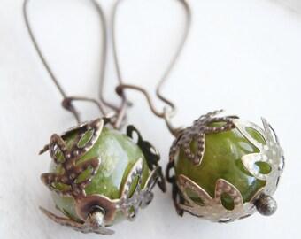 Stone Earrings - Green Apple Candy Earrings