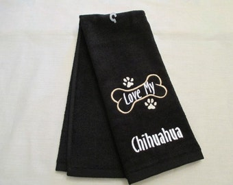 Chihuahua Hand Towel, Pet Towel, Grooming Towel, Embroidered Dog Towel