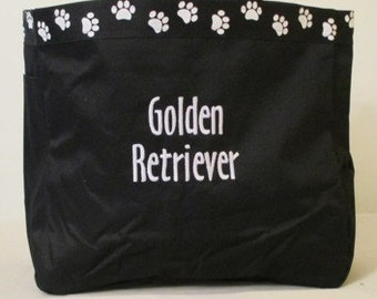 Golden Retrierver Tote Bag, Carrier, Personalized, Embroidered