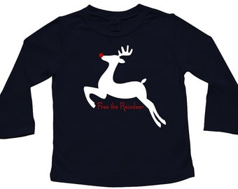 ON SALE - Free the Reindeer! - Christmas long sleeve t-shirt for baby and toddler, girl or boy