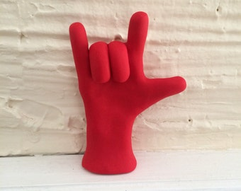I Love You ASL Hand Sculpture - Handmade American Sign Language Statue for I Love You - Customizable Gift - Made to Order - You Choose Color