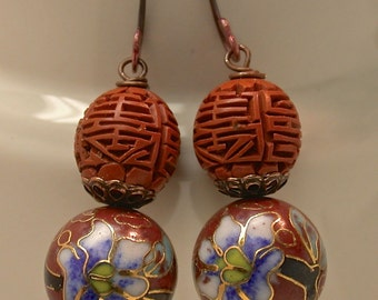 Vintage Chinese Cloisonne Dangle Drop Orange Blue Bead Earrings, Vintage Chinese Orange Cinnabar Bead, Handmade Copper Ear Wires