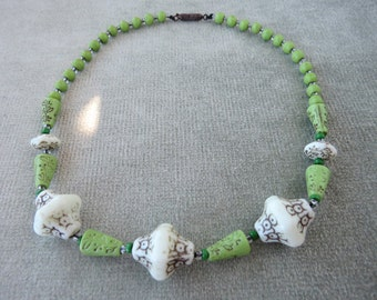 "15"" Apple Green Egyptian Revival Vintage Glass Beads Necklace"