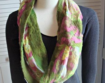 Nuno Felted Scarf, felted scarf, silk chiffon scarf,wet felted scarf