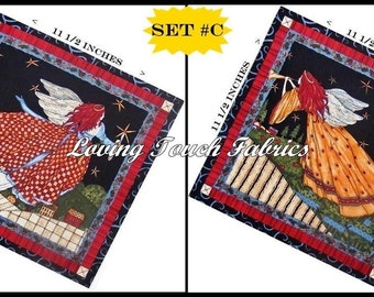 "Set of 2 / SSI  ""Angels From Above"" Chrismas Angel Cotton Fabric PanelS 11 1/2"" X 11 1/2"" Ea #C"