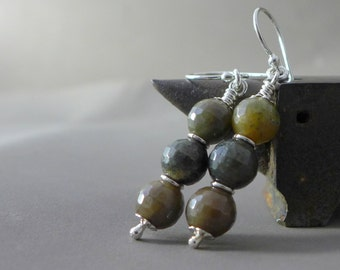 Rustic Quartz, Sterling Silver, Dangle Earrings, Sterling Earring, Rutilated Quartz, Dark Moss Green, Three Rustic Brown Earth Quartz Beads