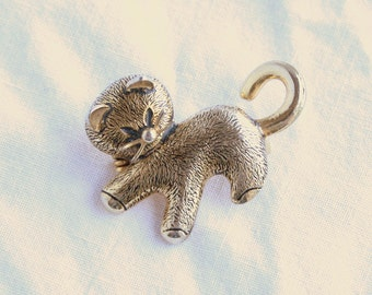 Kitty Cat Brooch Vintage Figural Pin Signed Spain Textured Antiqued Goldtone