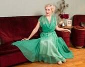 Vintage 1930s Dress - Gorgeous Paris Green Draped Silk Chiffon Gown with Beaded Neckline - Machin