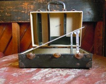 Vintage Mid Century Black Travel Trunk Suitcase Drafting Case Artist Box Industrial Organizer Home Decor