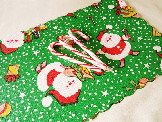 Vintage 1970 Christmas Green Placemats Holiday Santa Clause Reusable Placemats Christmas Decoration