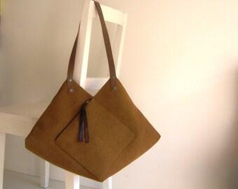 Statement Origami Caramel Tote Bag