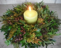 Fresh Boxwood and Cedar evergreen Christmas Wreath or candle ring. No shedding needles.