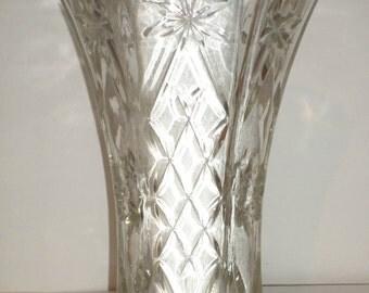 Vintage Cut Glass Vase - Large Clear Glass Vase - Diamond Pattern - Starburst Pattern - Hexagon Vase - Home Decor - Star Cut Glass Vase
