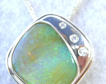 Opal Necklace, Beautiful Handcrafted Silver Pendant with Genuine Boulder Opal - Item 112142