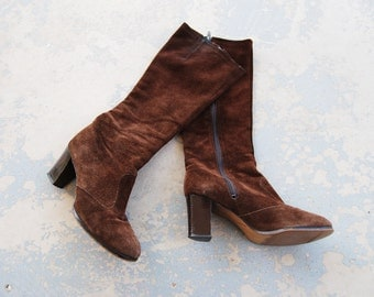 vintage 70s Leather Boots - 1970d Brown Suede Knee High Boots - High Heel Boots Sz 7.5 38