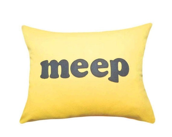 BLACK FRIDAY Sale, MEEP Pillow, Bright Yellow Kids Pillow, 12x18,  Word Pillow, Appliqued Text Pillows, Text Cushion Covers, Kids Bedroom