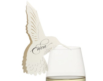 Hummingbird Place Cards - cream lasercut wedding escort cards, wine glass, champagne, reception decor, 3d paper bird, printed names, seating