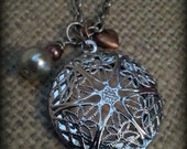 Silver Essential Oil Diffuser Necklace, Aromatherapy Pendant