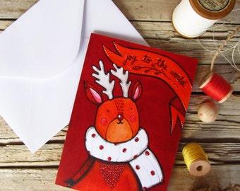 Reindeer greeting card & envelope red Christmas card