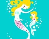 "5X7"" mermaid mother & daughter giclee art print on fine art paper. teal blue, magenta pink, blonde."