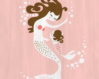 """8X10"""" mermaid mother and baby girl  giclee art print on fine art paper. pink, tan, brunette, paint texture background"""