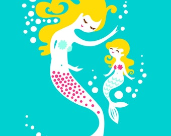 "5X7"" mermaid mother & daughter giclee art print on fine art paper. teal blue, magenta pink, brunette blonde."