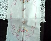 Beautiful Vintage Crocheted Edge Hand Embroidered Dresser Scarf Basket Of Posies and Butterfly