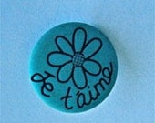 """French Words Je t'aime  """"I Love You"""" Large Turquoise Blue Button with Flower 1 1/4 """" Not Used"""