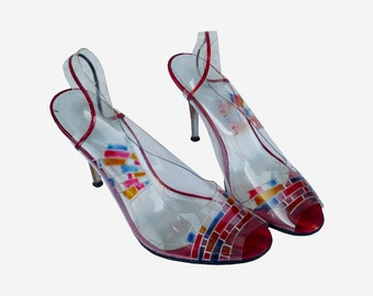 French Vintage Pvc Trnasparent Hand Painted HIgh Heels Shoes