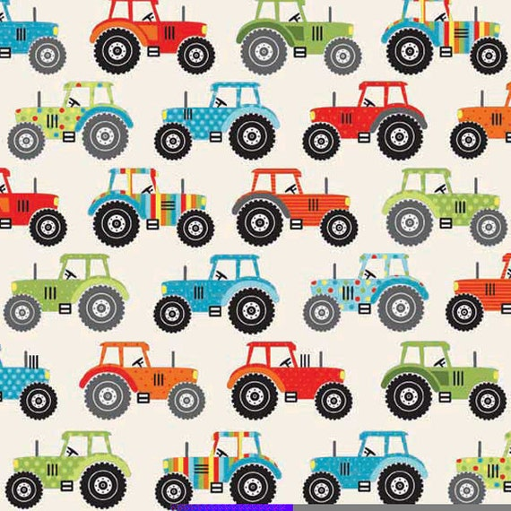 Kids fabric tractor fabric jolly farm tractors fabric by for Children s upholstery fabric