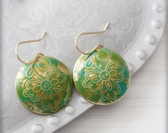 Green Blue Bohemian Flower Earrings Hand Etched Brass Earrings