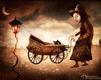 The walk - black cat illustration - original illustration print